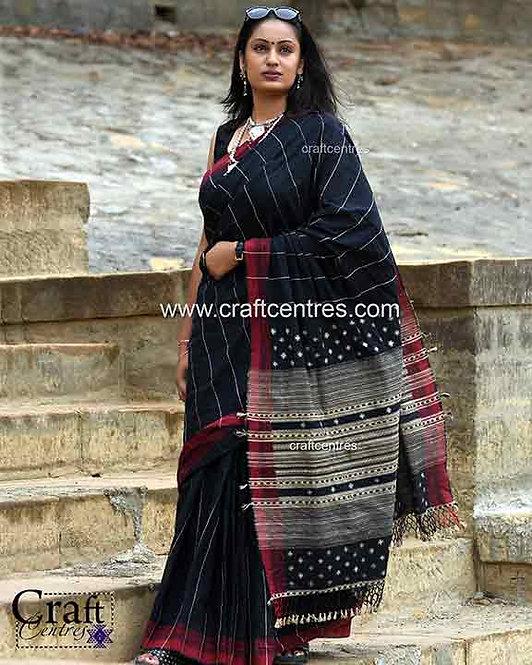 tussar silk pallu cotton handloom saree