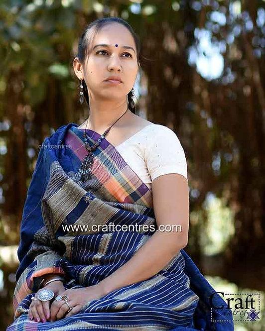 Bhujodi Tussar Silk Handloom Saree With Blouse