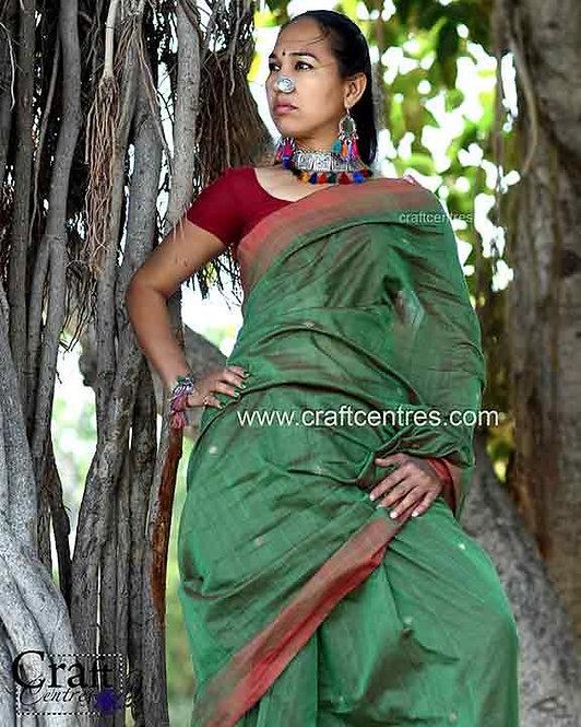 tussar Silk Handloom Bhujodi Saree With Blouse Piece