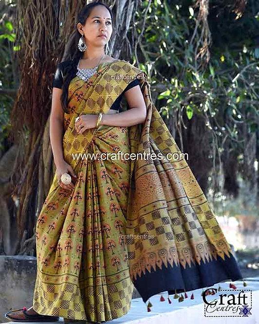 gaji silk ajrakh block print saree