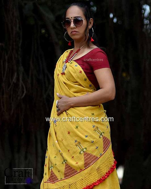 Soof Embroidery Kala Cotton bhujodi Saree With Blouse