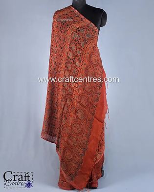 Linen By Linen Saree With Ajrakh Block P