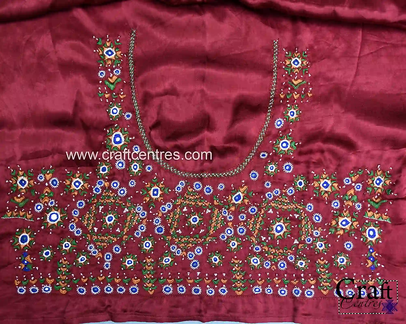 Silk Handloom Blouse Piece With Embroidery