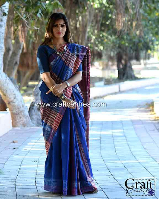 Tussar Silk Handloom Bhujodi Saree With Blouse