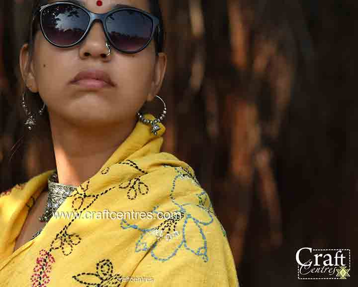 kala cotton bhujodi saree with hand embroidery