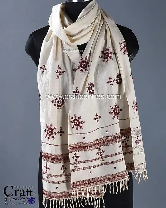Bhujodi Stole With Hand Embroidery
