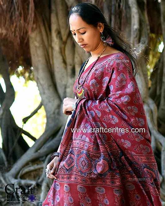 modal silk ajrakh block print saree
