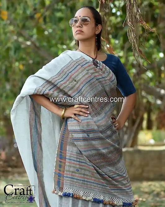 Linen Saree With Blouse Online