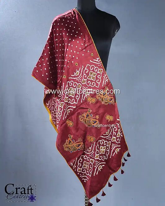 Bandhej With Embroidery Stoles