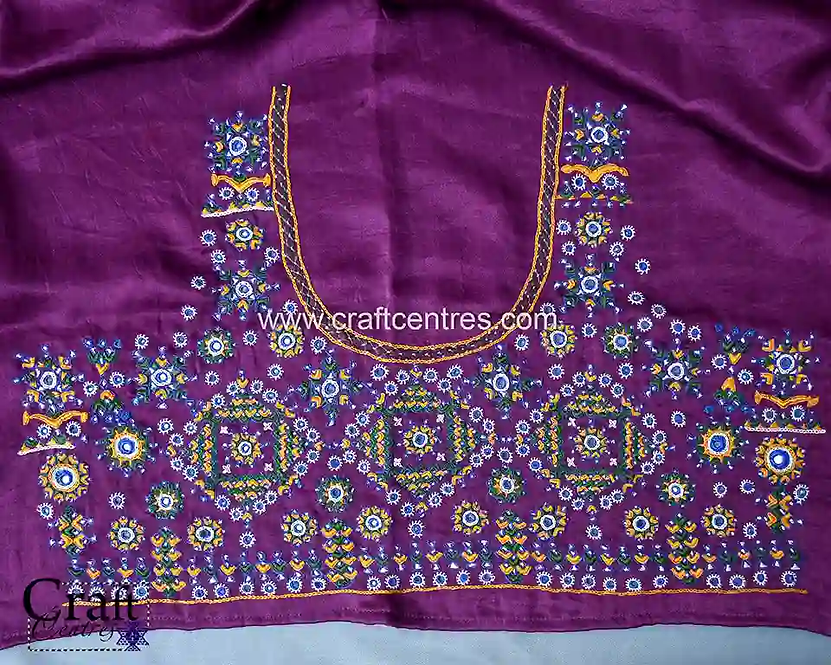 Mashru Silk Blouse Piece With Neran Hand Embroidery