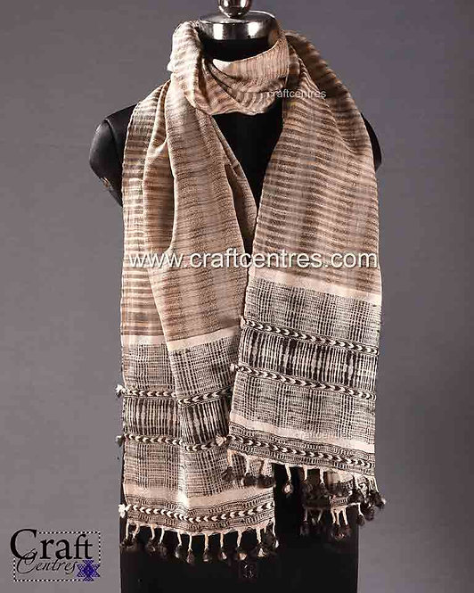Wool And Tussar Silk Handloom Bhujodi Stole     cksd082