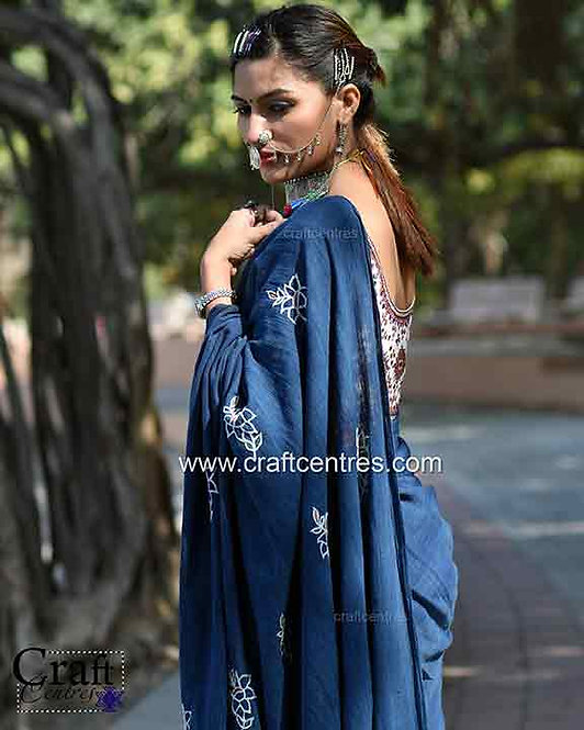 indigo natural dyes kala cotton saree with hand embroidery