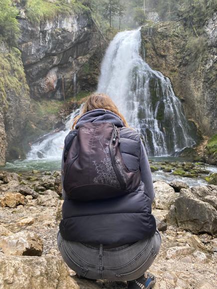 Bei der Aufnahme des Gollinger Wasserfalls
