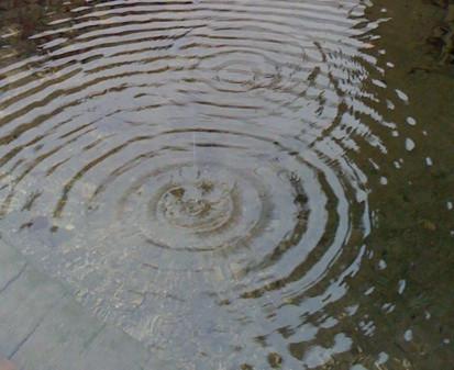 Wasserkreise ziehende Tropfen im Königssee