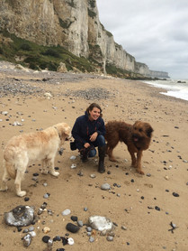Ich mit Grisou und damals noch Friedwart am Strand der Normandie