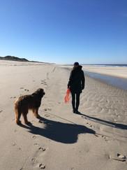 Mein Hund Grisou und ich am Strand von Sylt