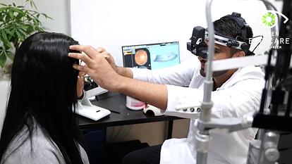 Dr. Satija performing a dilated eye examination
