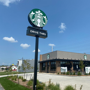 Starbucks - Lighted sign on Lincoln Way