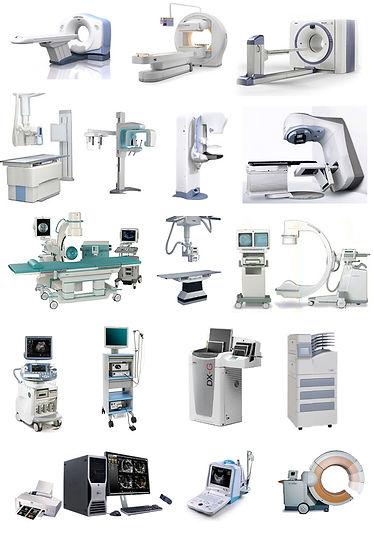 Scanners, IRM, pet scan …     Salles/tables d'échographie, radiographie, radiographie panoramique, mammographie, radiothérapie, fluoroscopie …     Mobiles de radioscopie peropératoire, de radiographie, d'échographie, d'endoscopie     Lecteurs de plaques radiographiques     Stations de travail et de traitement d'images ou de données médicales (informatique)     Accessoires destinés aux dispositifs médicaux (Moniteurs/écrans, imprimantes, chariots avec alimentation électrique intégrée, alimentations secourues …)