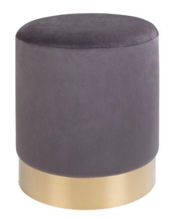 grey velvet pouff