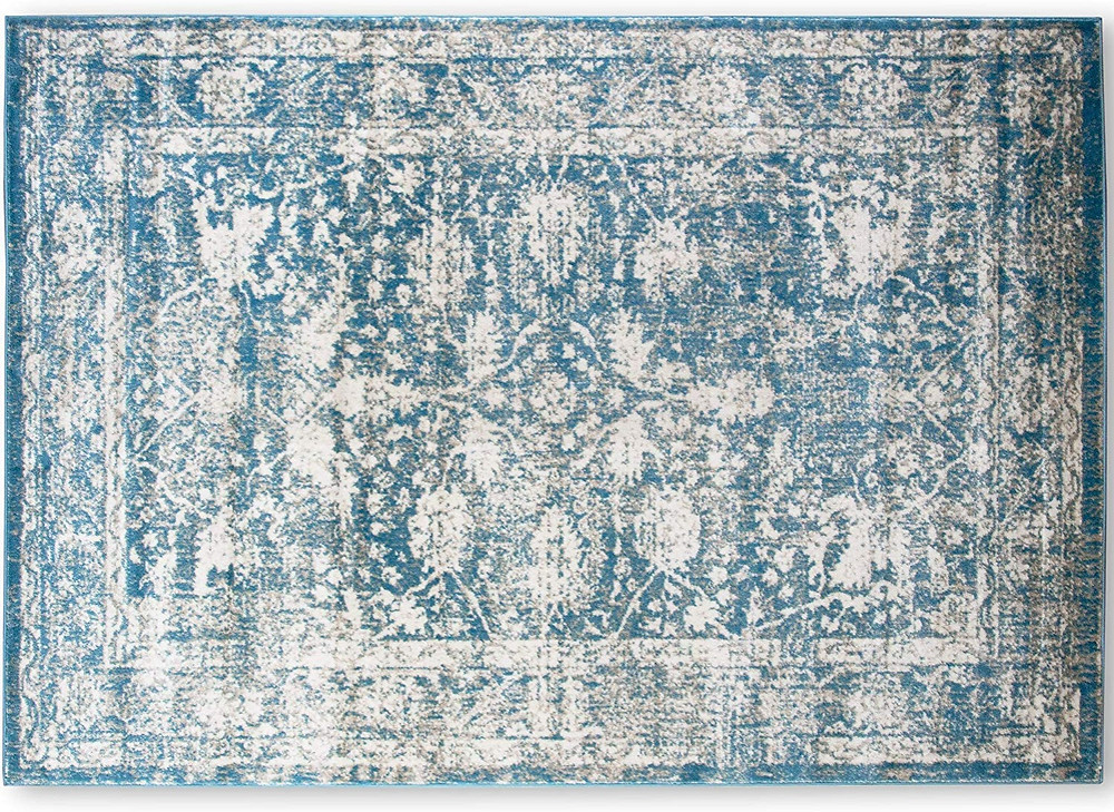 A2Z Rug Santorini 6076 Blue Vintage Style Floral Pattern With Border 160x230cm £63.99