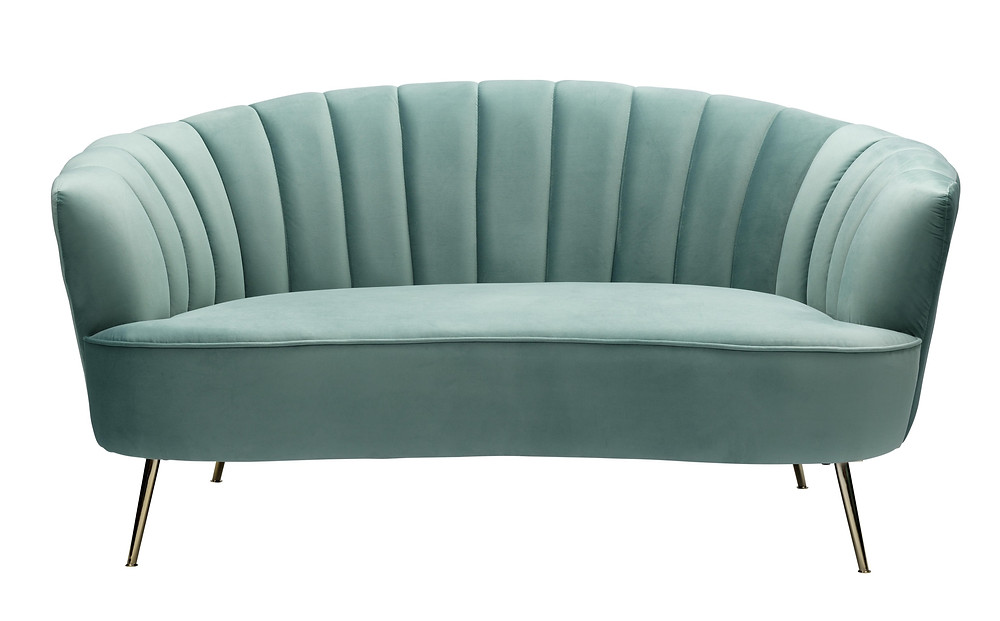 BONNIE 2 SEATER LOVESEAT SOFA, VELVET UPHOLSTERED, SAGE GREEN