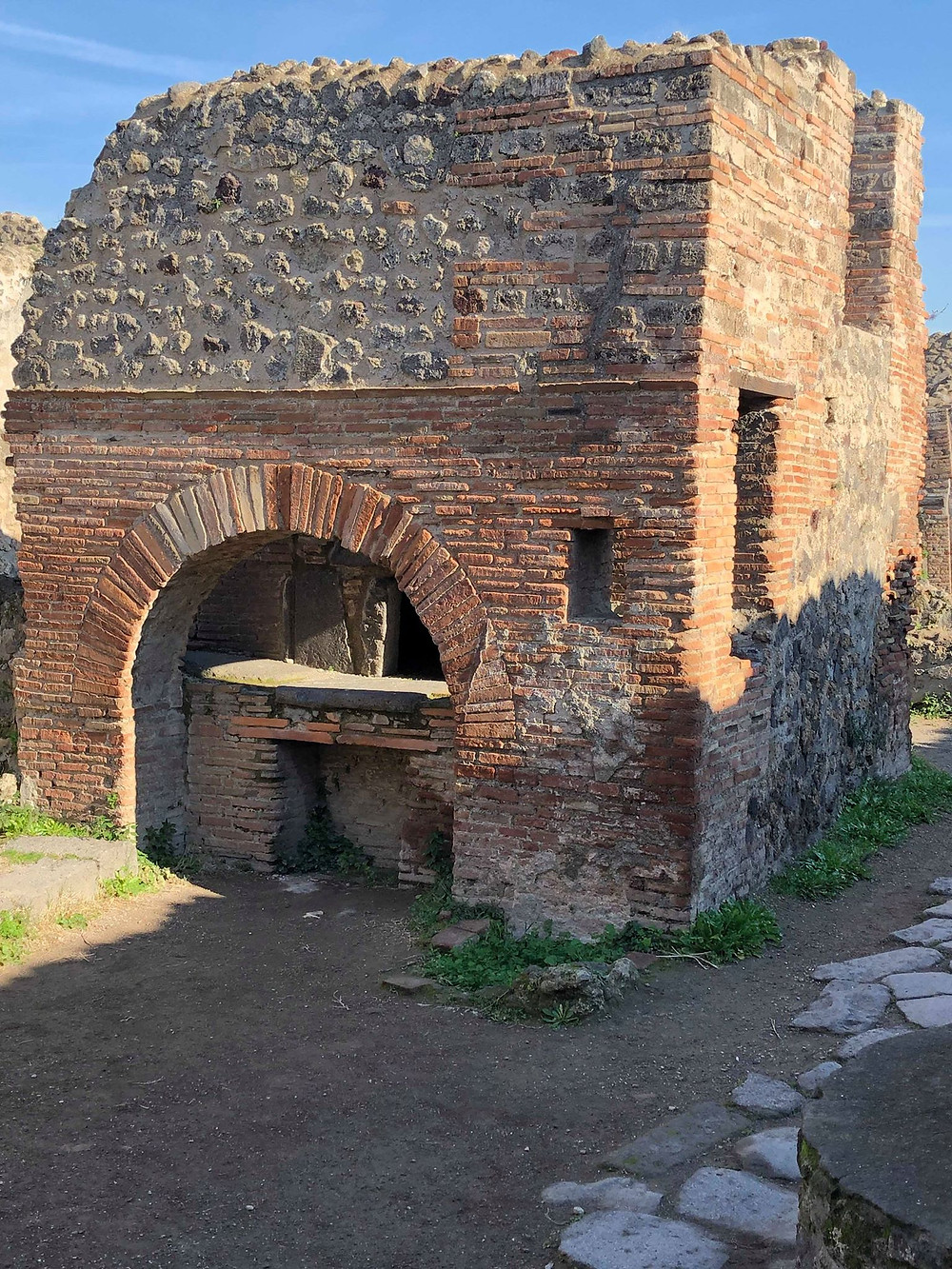 photograph of world's first pizza oven in pompeii ancient ruins italy europe