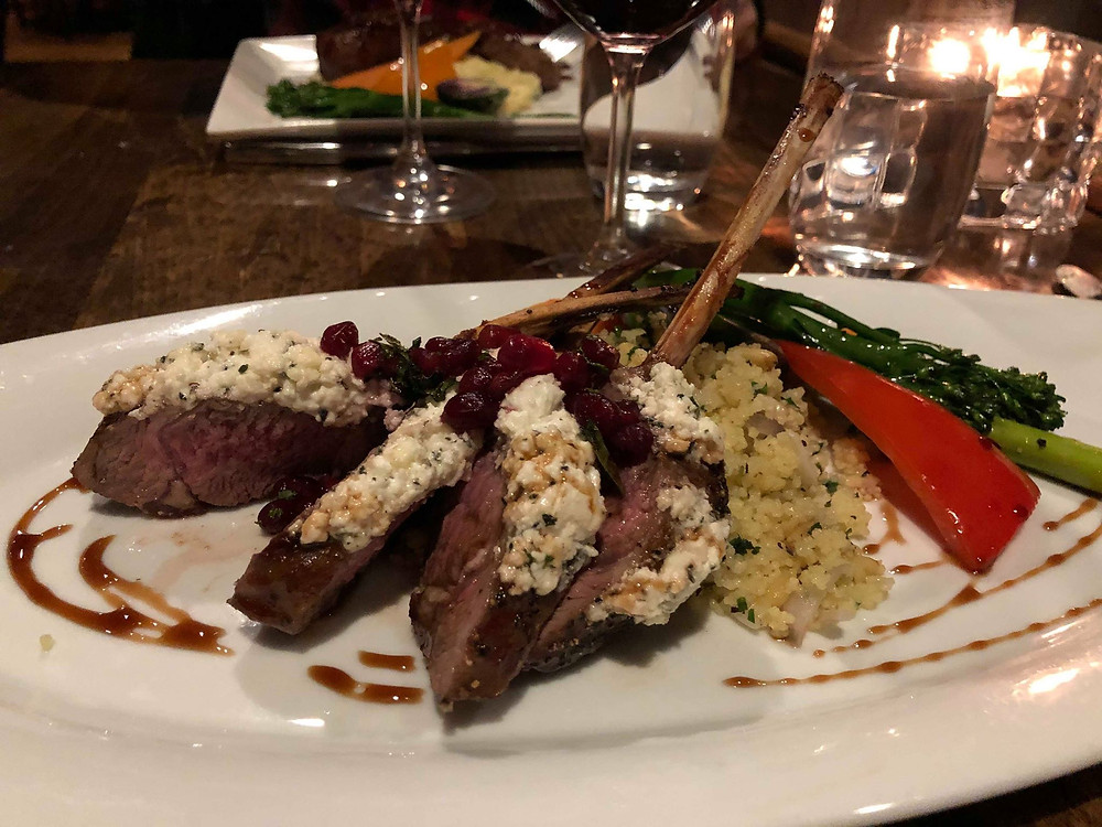 photograph of rack of lamb canadian cuisine in rocky mountains delicious.