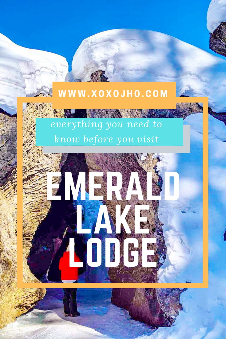 Photograph of girl travel blogger hiking on frozen river in Canada Rocky Mountains Lake Louise.