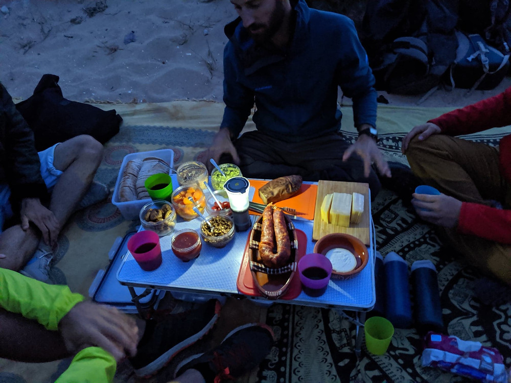 Delicious photograph of Portuguese picnic after hiking.