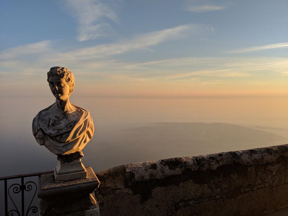 ancient roman statue art in amalfi coast italy europe ravello enchanted castle