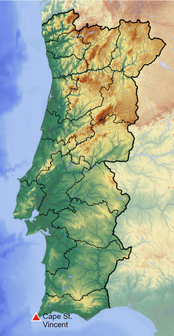 Map of Portugal showing Cape St. Vincent. www.xoxojho.com