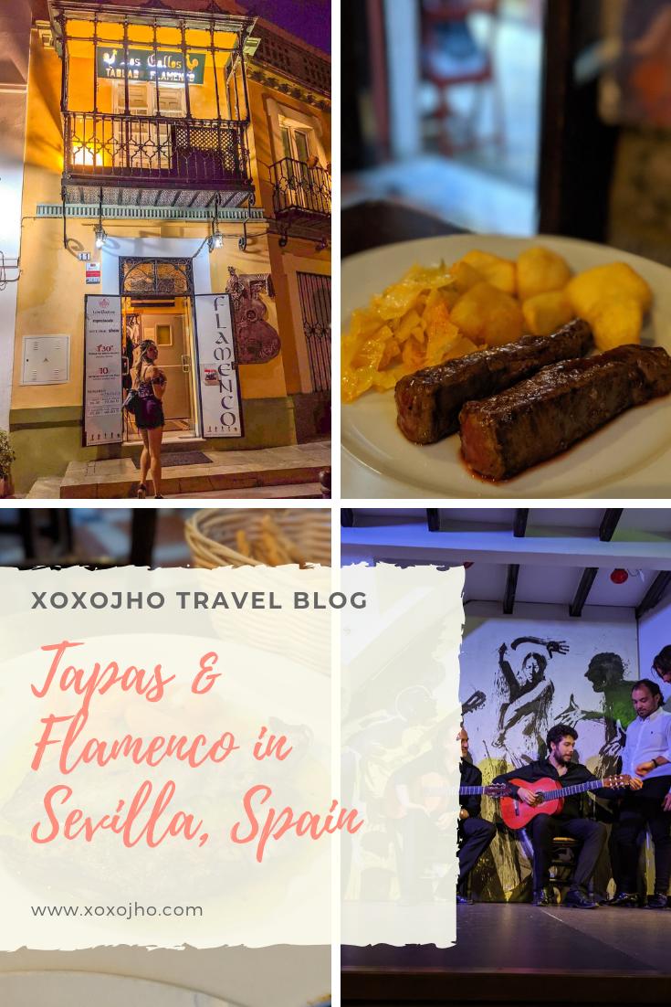 Girl travel blogger exploring seville spain nightlife having tapas and checking out flamenco