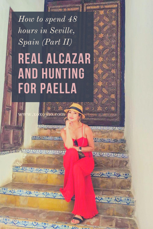 Girl travel fashion blogger visiting Real Alcazar Sevilla Spain.