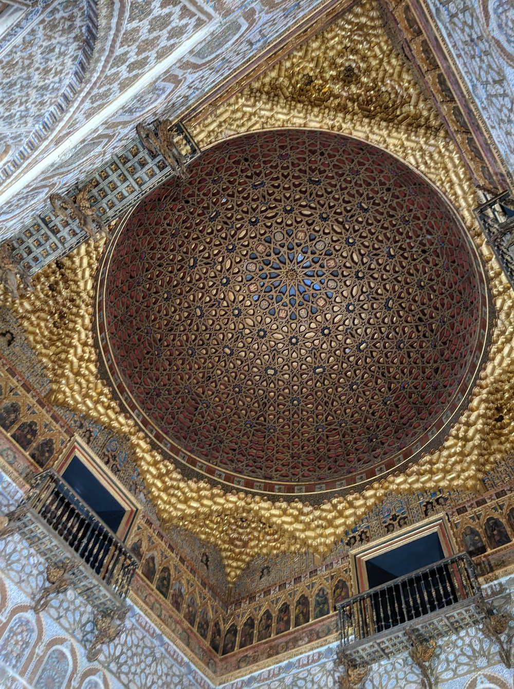The beautiful dome ceiling in the Hall of the Ambassadors in the Royal Alcazar. Cannot get over how gorgeous the intricate details are, showcasing the historical Moorish design and influence in the area.