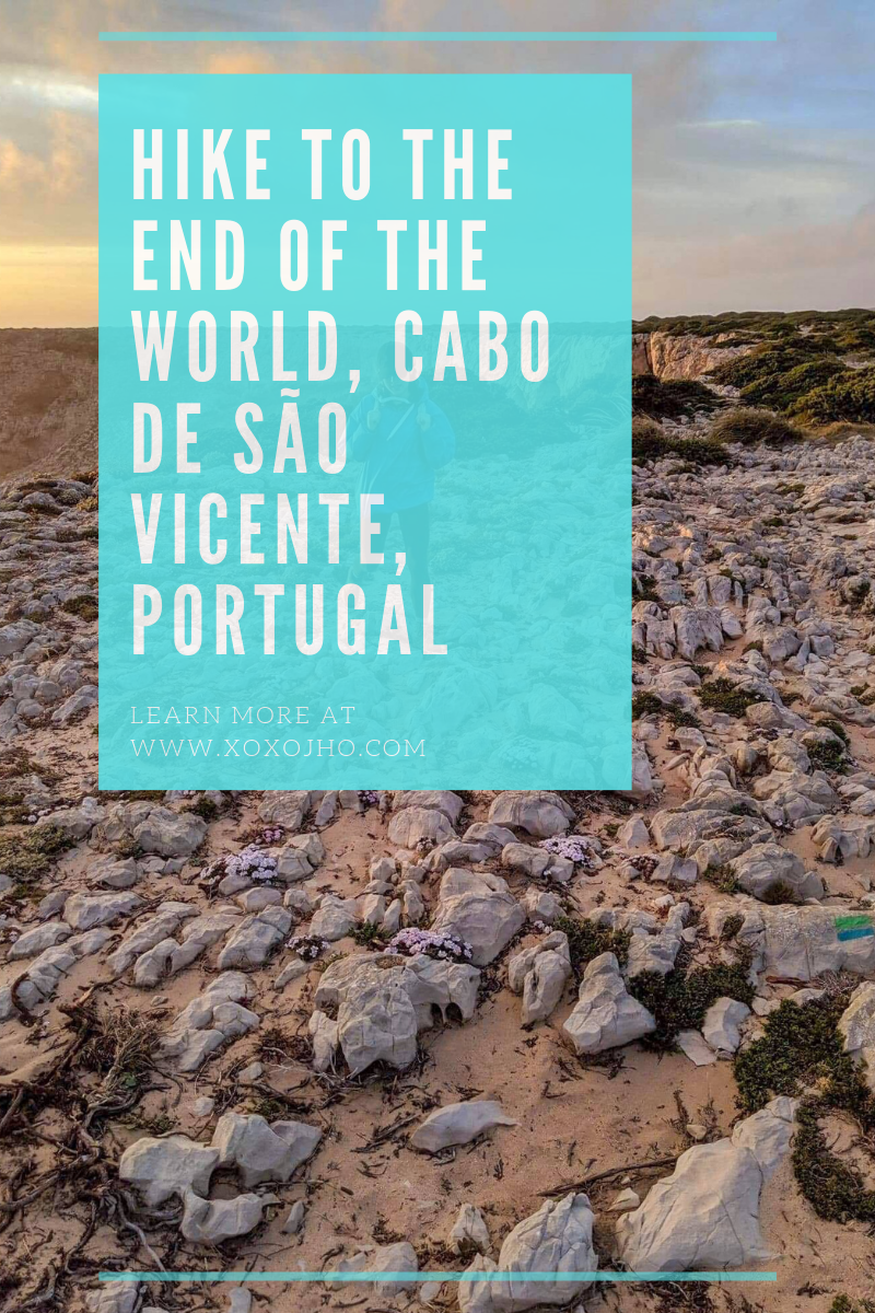 Girl travel blogger hiking in Portugal Algarve Cape St. Vincent. Photograph blog post for pinterest.