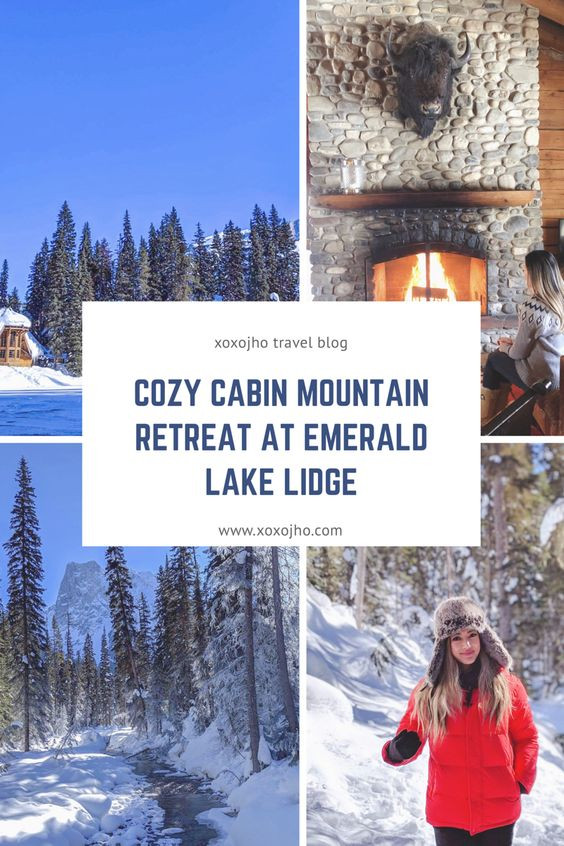 blog cover for xoxojho travel blog. cozy cabin mountain retreat at emerald lake lodge in beautiful canada during winter time. Wood burning fireplace. Girl travel blogger.