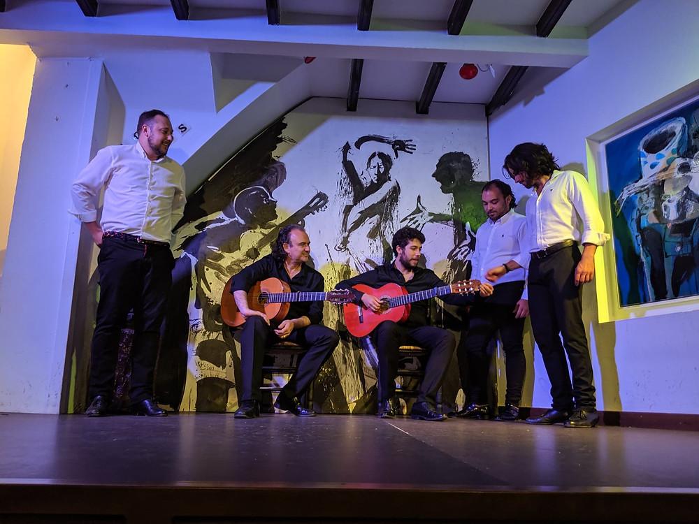 Travel blog. photograph of flamenco performers in sevilla spain. Tablao los gallos.