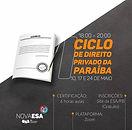 Nova ESA realizará I Ciclo de Direito Privado da Paraíba; participe