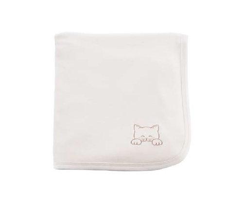 Couverture en coton bio, réversible, motif chaton, 75 x 75 cm, écru