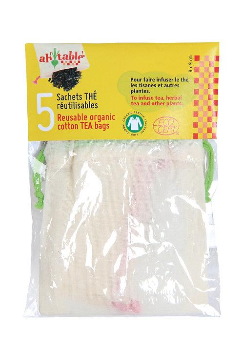 Lot de 5 sachets de thé réutilisables en coton bio