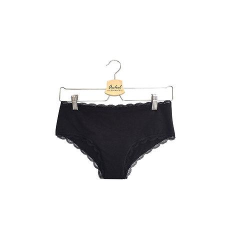 Shorty menstruel en coton bio - Noir - Tailles 2XS à 2XL - Flux léger à moyen