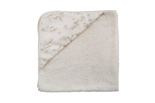 Serviette de bain en coton bio + capuche en tissu motif ourson - écru et beige