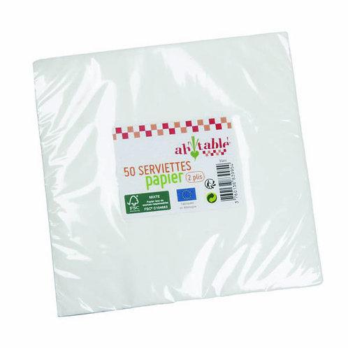 Lot de 50 serviettes en papier - 33 x 33 cm - 2 plis
