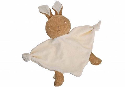 Doudou lapin en coton bio - écru et marron