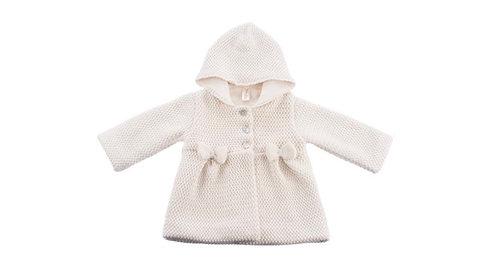 Manteau en tricot pour fille, en coton bio, avec capuche et nœuds (hiver)