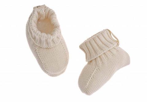 Chaussons en maille de coton bio - écru (été-hiver)