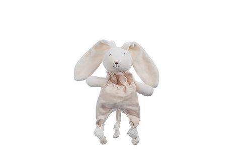 Doudou lapin en coton bio avec attache tétine - écru