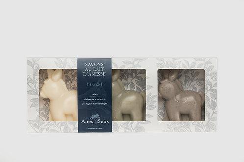 Coffret cadeau 3 savons moulés en forme d'âne au lait d'ânesse