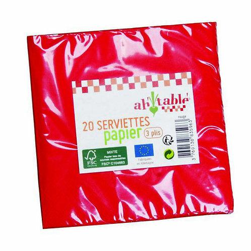 Lot de 20 serviettes en papier - 24 x 24 cm - 3 plis